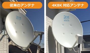 従来のBSCSアンテナと4K8K衛星放送に対応したアンテナの比較画像です。