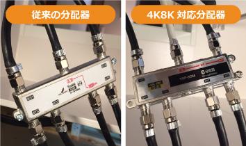 従来の分波器と4K8K衛星放送に対応した分波器の比較画像です。