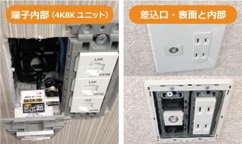 4K8Kユニットの端子内部と差込口の画像です。